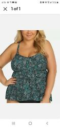 NWT Island Escape Black Plus Paisley Bliss Tier Tankini Swimsuit Top 22W