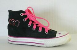 Converse Chuck Taylor All Star Girls High Top Canvas Sneakers Black Pink Size 13 $13.50