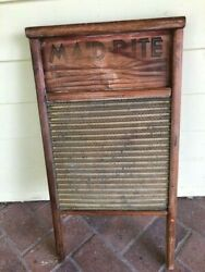 Antique Vintage Wood Brass Washboard Maid Rite 24quot; x 12quot; $25.00