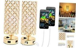 USB Crystal Table Lamp Small Gold Lamp Sets Desk Lamp Set of 2 with USB $70.06