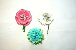 Three vintage flower broches $8.00