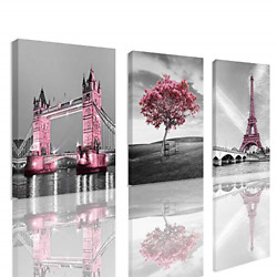 Decor for Bedroom for Girls Pink Paris Theme Room Decor Wall Art Canvas Black $42.01