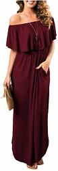 Womens Off The Shoulder Ruffle Party Dresses Side Split Wine Red Size X Small $9.99