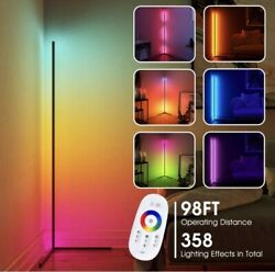 CRAZCALF Corner Floor Lamp RGB Color Changing LED Dimmable w Remote Control $68.99
