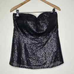 Torrid Black Sequin Sweetheart A Line Sleeveless Top sz 00