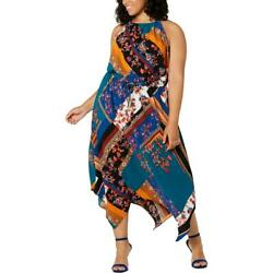 Fishbowl Womens Blue Handkerchief Hem Halter Maxi Dress Plus 3X BHFO 7347 $12.99