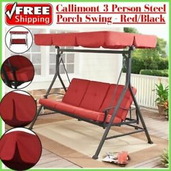Callimont 3 Person Steel Porch Swing with Canopy is UV treated Red Black $319.70