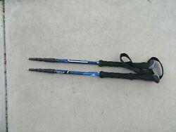 Set of Cascade Mountain tech Aluminum Trekking Poles 110 135CM Black Blue $21.99