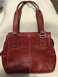 Vintage For Life Fossil Red Pebbled Leather Shoulder Bag Purse Topstitching $19.90