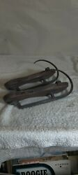 ANTIQUE WOODEN HAND FORGED ICE SKATES $120.00