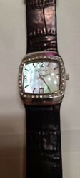 WOMENS FOSSIL WATCH black leather band with mother of pearl face $17.50