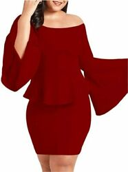 VINKKE Womens Peplum Off The Shoulder Party Plus Size Wine Red Size XX Large $9.99