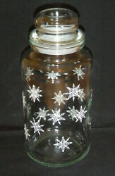 Anchor Hocking Clear Glass Tang Container Jar w Christmas Snowflakes amp; Lid $12.00