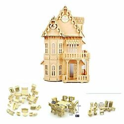 17quot; Wooden Dream Dollhouse 2 Floors with Furnitures DIY Gothic Furnitures Sets $43.23