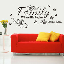 Wall Decals Quotes Flower Vine Word Wall Sticker Quotes DIY Family S8G2 $6.82
