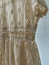 Maje Eyelet Lace MIDI Dress In Nude Color Size 40 NWT $130.00