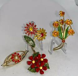 Lot of 4 Flowers Orange Red Shades Pearl Crystal Vintage Gold Pin Brooch D 8523 $16.99