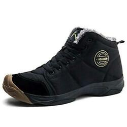 UPSOLO Mens Winter Trekking Snow Boots Water Resistant Shoes Black 2 Size 7.0 $34.80