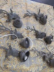 Antique set of 6 Deer with horn brass with socket lamp for chandelier parts $169.99
