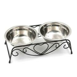 Stainless Steel Double Pet Bowls Feeder Elevated Stand Raised Dish Feeding Food $21.59