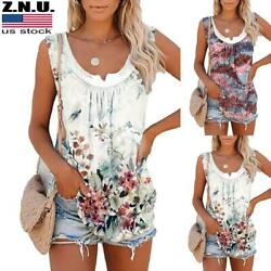 Plus Size Womens Floral Sleeveless V Neck Tank Tops Ladies Summer Casual T shirt $15.29