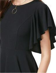 ROMWE Women#x27;s Stretchy A Line Swing Flared Skater Cocktail Black Size X Large $9.99
