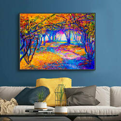 Colorful Landscape Wall Art Canvas Oil Painting Picture for Living Room Decor $6.99
