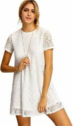 Romwe Women#x27;s Plain Short Sleeve Floral Summer Floral Lace White Size Small $9.99