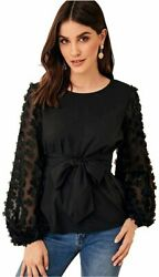 Romwe Women#x27;s Mesh Embroidered Floral Sleeve Self Belted Black Size Medium $9.99