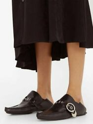 LOEWE REAL Shearling Lined Black Collapsible Pointed Loafers 39 Celine The Row C $466.00