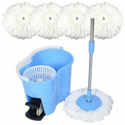 Microfiber Spin Mop Easy Floor with Bucket amp; 4 Mop Heads 360 Rotating Head Blue $39.99
