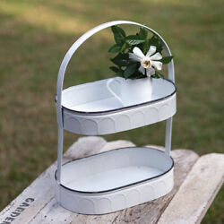 Farmhouse Two Tiered Oval White Tray Country Caddy Bath Kitchen Bin $56.99