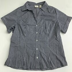 Rider#x27;s by Lee Button Up Shirt Women#x27;s XL Black White Check Short Sleeve Casual $17.99