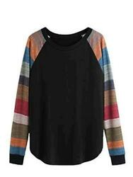Romwe Women#x27;s Long Sleeve Colorblock Causal Pullover Blouse Plus Black Size $10.17