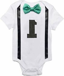 NNJXD Baby Boys#x27; Funny First Birthday Bow Tie Infant Romper Green Size 0.0 $9.99