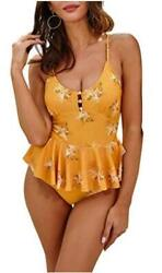 MOLYBELL One Piece Plunge Skirted Swimsuits for Women Yellow Size Medium M6pz $9.99