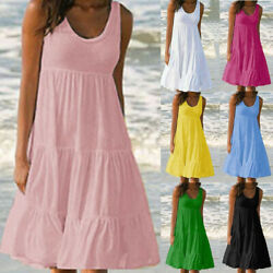 Summer Women Crew Neck Tank Midi Dress Casual Party Plus Size Loose Solid Dress $13.68
