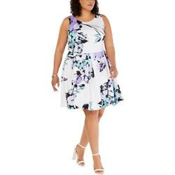 Taylor Womens Ivory Floral Fit amp; Flare Sleeveless Party Dress Plus 16W BHFO 3358 $11.99