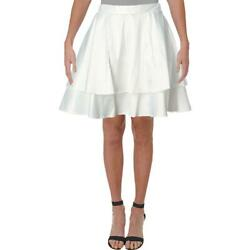 City Studio Womens White Sateen Tiered Party A Line Skirt Juniors 0 BHFO 9461 $7.99