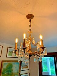 Antique Chandelier Early 20th C Spanish Spain Crystals Solid Brass Bronze WOW $275.00
