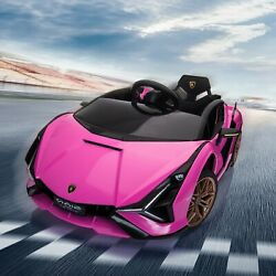 12V Kids Electric Ride On Licensed Lamborghini Sian Toy Car Remote Control Pink $209.99