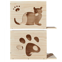Solid Wood Wall Cat Shelf House Sleeping Bed Cat Perch Furniture 19.7x15.7x11.8quot; $45.98