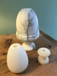 Hand carved vintage marble and alabaster lamp parts for repair rebuilding lamps $28.00