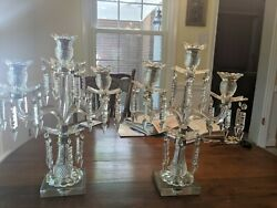 Antique Crystal Candelabra pair with 3 arms and extra crystals $98.00