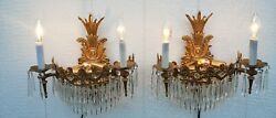 Vintage PAIR Brass Crystal Wall Sconces 4 Lights on Each Sconce EUC $295.00