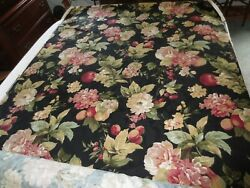 3118. Waverly BRAMASOLE Black Floral DRAPERY UPHOLSTERY Cotton 54.5quot;W FABRIC BTY $12.00