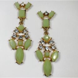 Gold Chandelier Earrings With Clear and Light Green Crystals $8.00
