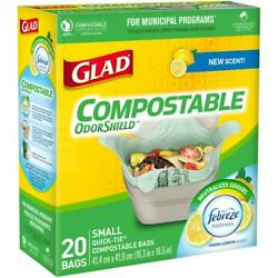 Glad Compostable OdorShield Quick Tie Small Trash Bags Fresh Clean Scent 2.6 C $19.98