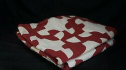 """TWO Antique RED AND WHITE QUILTS Hand Stitched Pinwheel 36"""" x 56"""" AND 59"""" x 70"""" $195.00"""