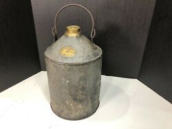 RARE ANTIQUE DRESSEL RAILROAD OIL CAN BY IRON CLAD MFG.CO. $165.00